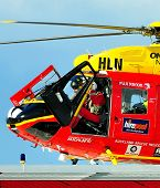 Westpac rescue helicopter arriving Auckland Hospital with injured patient