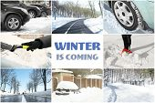 Collage for driving safety concept and text WINTER IS COMING poster