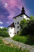 picture of banska  - New castle and moon in Banska Stiavnica - JPG