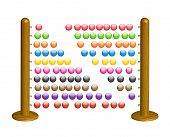 Wooden abacus with shining glass beads