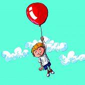 Cartoon Of A Boy Hanging Onto A Balloon