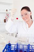 Charming Red-haired Woman Holding A Test Tube