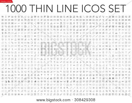 poster of Set Of 1000 Thin Line Icons - Business, Finance, Office, Banking, Seo, Travel, Drugs, Dental, Medica