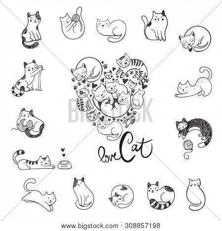 poster of Cute hand-drawn doodle cats with different emotions and cats in the form of heart for the fan of cat