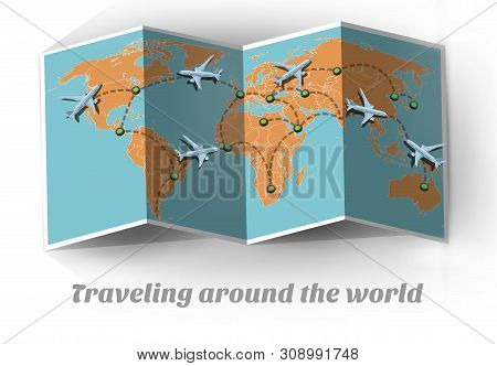 poster of Travel By Plane. Traveling Around The World. Map Travel By Plane Around The World. Plane Travel Arou