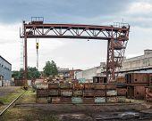 Old Factory Yard. Engine Junkyard. Metal Recycling Yard. Scrap Metal Recycling Yard poster