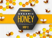 Paper Cut Style Bee With Honeycomb. Typographic Design For Beekeeping And Honey Product. Orange Back poster