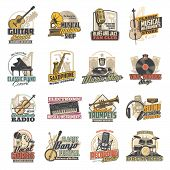 Musical Instruments, Microphones And Sound Recording Studio Equipment Vector Icons. Guitar, Piano An poster