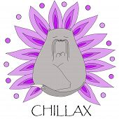Abstract Cartoon Grey Zen Cat With A Lilac Lotos Flower Petals On White Background, Chilling And Rel poster