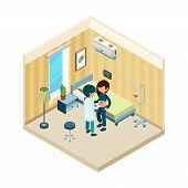 Doctor And Patient. Medic Standing Near Bed Of Patient In Hospital Treatment Health Vector Isometric poster
