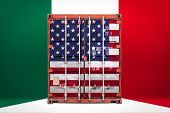 The Concept Of  Usa And Italy Export-import, Container Transporting And National Delivery Of Goods.  poster