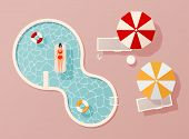 Woman In Swim Suit Lying On Floating Swimming Pool Mattress. Summer Pool Party Invitation Design. Fl poster