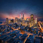 San Francisco Downtown at sunrise. California famous city at sunrise. Bay Bridge and Port of San Fra poster