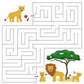 Maze Game For Kids. Help The Baby Lion Find Right Way To His Family - Mother And Father Lion. Cute C poster