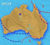 Weather Forecast Of Australia. Meteorological Weather Map Of The Australia. Realistic Synoptic Map W poster