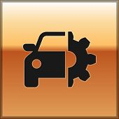 Black Car Service Icon Isolated On Gold Background. Auto Mechanic Service. Mechanic Service. Repair  poster