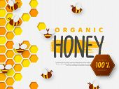 Paper Cut Style Bee With Honeycomb. Typographic Design For Beekeeping And Honey Product. Vector Illu poster