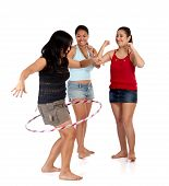 foto of hula hoop  - young group of friends having fun together - JPG