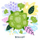 Fresh Green Broccoli Vegetable Juice Splash Organic Food Juicy Vegetables Splatter On Abstract Colof poster