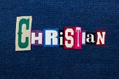 Christian Collage Of Text And Word, Multi Colored Fabric On Blue Denim, Christianity Religion Divers poster