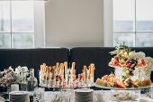 Delicious Italian Food Table At Wedding Reception. Tomatoes, Basil,cheese,prosciutto, Greenery, Brea poster