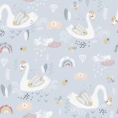 Seamless Pattern With Cute Fairy Swans And Rainbows. Creative Childish Background. Perfect For Kids  poster