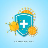 Immune System Concept. Medical Shield Surrounded By Viruses And Bacterium In Paper Cut Style, Vector poster