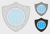 Mesh Global Shield Model With Triangle Mosaic Icon. Wire Frame Triangular Mesh Of Global Shield. Vec poster