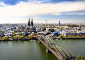 Top View Of Koel. View On Cologne Cathedral And Hohenzollern Bridge In Koel, Germany. Tourism And Tr poster