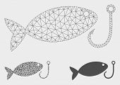 Mesh Fish Hook Model With Triangle Mosaic Icon. Wire Carcass Triangular Mesh Of Fish Hook. Vector Co poster