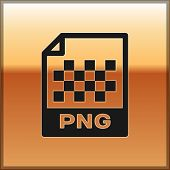 Black Png File Document Icon. Download Png Button Icon Isolated On Gold Background. Png File Symbol. poster
