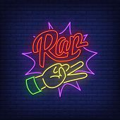 Hand And Lettering Neon Sign. Rap, Gesture, Yo, Rap Battle. Vector Illustration In Neon Style For Ni poster