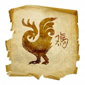 Cock Zodiac Icon, Isolated On White Background.