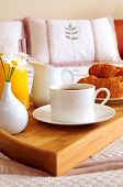 Breakfast In Bed At A Hotel Room