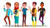 Mulicultural Characters People Satisfied . Satisfied International Men And Women Showing Gesture Ok  poster