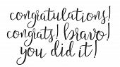 Modern Calligraphy Of Word Congratulations . Stylish Typography Inscription With Different Handwritt poster