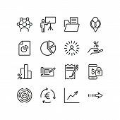 Business Occupation Icons. Set Of Line Icons. Professional Knowledge, Percentage Diagram, Pie Chart. poster