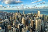 Aerial View Of Chicago Skyline Panorama With Blue Sky And Cloud At Beautiful Sunset Time In Chicago, poster