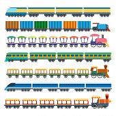 Education Trains. Vector Railway Carriage Train Set, Wagons And Locomotive Models, Child Miniature T poster