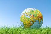 Planet Earth Balloon Over Grass