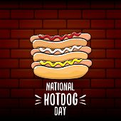 National Hot Dog Day Poster With Funny Cartoon Hot Dog. Hot Dog Day Label Or Print For Tee. poster