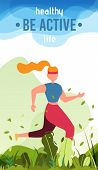 Healthy Life Cartoon Card Motivating To Be Active. Woman Character Doing Sports, Training, Running I poster