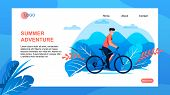 Tour Agency Landing Page Offers Summer Adventure. Bicycle Tour. Man Cartoon Character Riding Bike Ov poster
