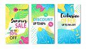 Big Summer Price Fall Social Media Post And Flyer Set. Vector Flat Illustration Lettering Sales Up T poster