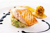 Salmon with avocado tatar and caramelised banana