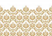 Floral Pattern. Vintage Wallpaper In The Baroque Style. Modern Vector Background. White And Gold Orn poster