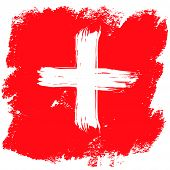 Grunge Brush Stroke With Swiss National Flag. Swiss National Day Background In Red. Decorative Desig poster
