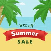 Summer Seasonal Sale Flat Banner Template. Hot Season 50 Percent Discount On Seascape With Palm Tree poster