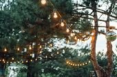 Light Bulb Decor In Outdoor Party, Wedding Party poster