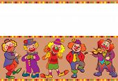 Funny clowns frame.